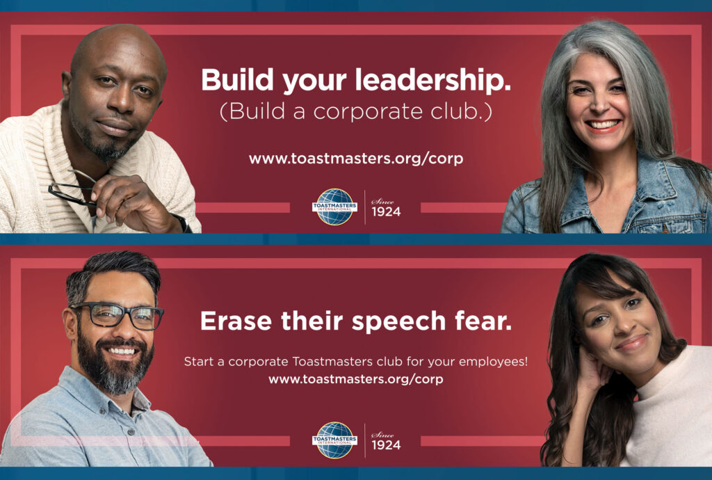 Toastmaster's corporate club banner - build leadership